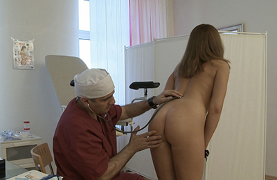 the doctor checks the ass of his pretty patient