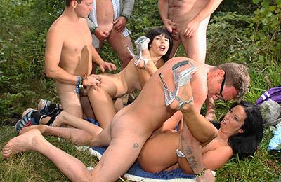 german ladies get banged by many cocks